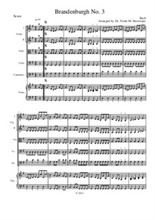 Brandenburg Concerto No.3 in G Major, BWV 1048: For string orchestra (for elementary to middle school age youths) – full score by Johann Sebastian Bach