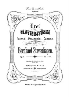 Three Pieces for Piano, Op.2: Three Pieces for Piano by Bernhard Stavenhagen