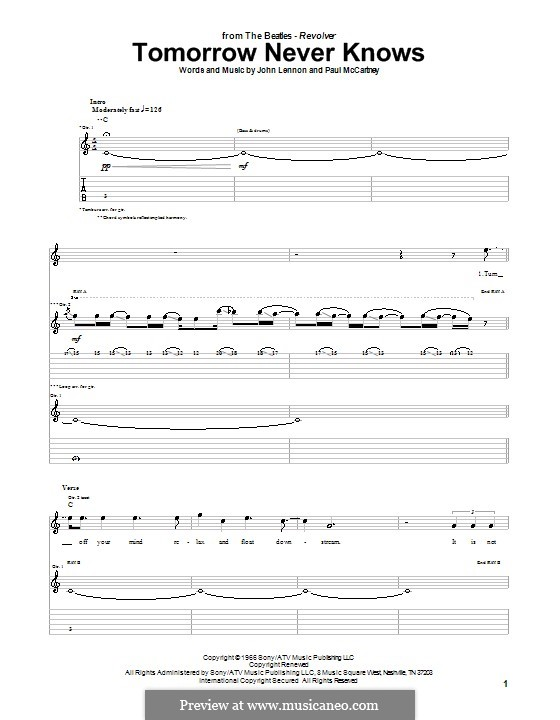 Tomorrow Never Knows (The Beatles): For guitar with tab by John Lennon, Paul McCartney