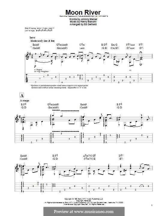 Moon River (from Breakfast at Tiffany's): For guitar with tab by Henry Mancini