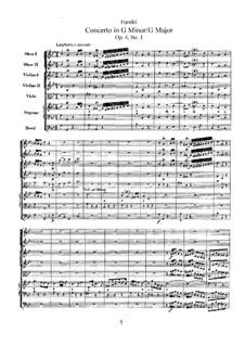 Concerto No.1 in G Minor, HWV 289: Concerto No.1 in G Minor by Georg Friedrich Händel