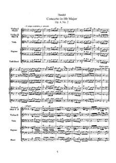 Concerto No.2 in B Flat Major, HWV 290: Concerto No.2 in B Flat Major by Georg Friedrich Händel