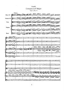Concerto No.4 in F Major, HWV 292: Full score by Georg Friedrich Händel