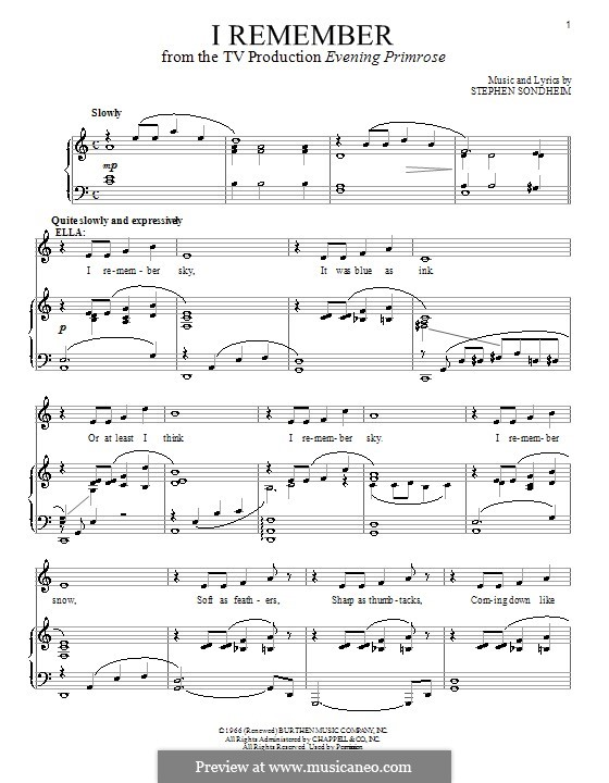 I Remember: For voice and piano by Stephen Sondheim