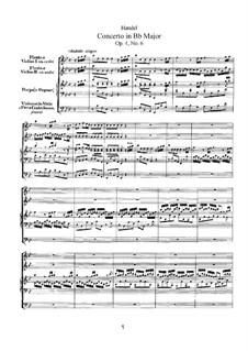 Concerto No.6 in B Flat Major, HWV 294: Full score by Georg Friedrich Händel