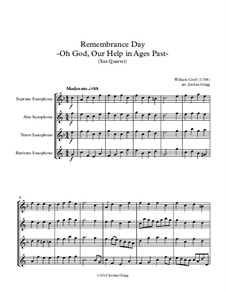 O God, Our Help in Ages Past: For saxophone quartet by William Croft