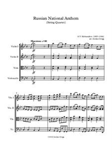 National Anthem of Russian Federation (Gimn Rossiyskoy Federatsii): For string quartet by Alexander Vasilyevich Alexandrov