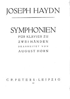 Symphony No.103 in E Flat Major 'Drum Roll', Hob.I/103: Version for piano by Joseph Haydn