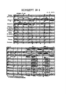 Brandenburg Concerto No.4 in G Major, BWV 1049: Full score by Johann Sebastian Bach
