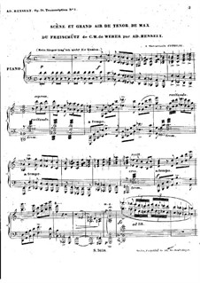 Act I No.3 Scene and Big Max's Aria: For piano by Carl Maria von Weber
