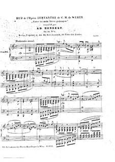 Akt I Nr.7 Unter ist mein Stern gegangen: For piano by Carl Maria von Weber