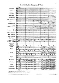 Complete Suite: Movement I – full score by Gustav Holst