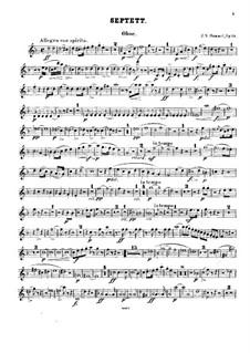 Septet No.1 in D Minor, Op.74: Oboe part by Johann Nepomuk Hummel