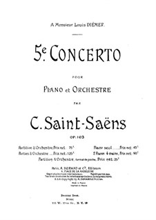 Concerto for Piano and Orchestra No.5 in F Major 'Egyptian', Op.103: Full score by Camille Saint-Saëns