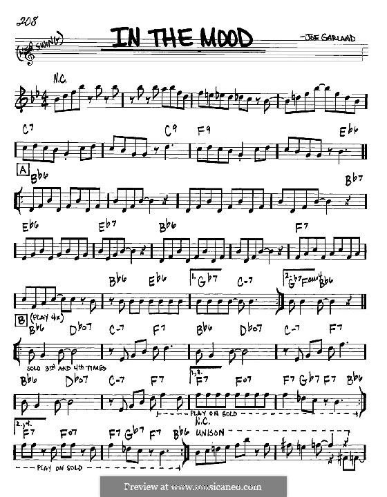 In the Mood (Glen Miller): Melody and chords – Bb instruments by Joe Garland