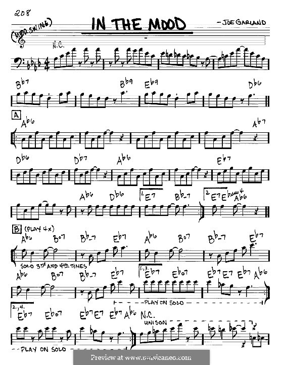 In the Mood (Glen Miller): Melody and chords – bass clef instrument by Joe Garland