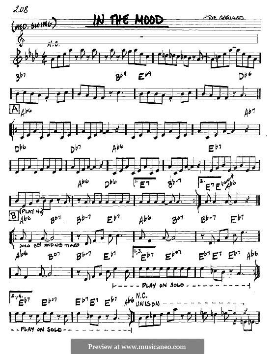 In the Mood (Glen Miller): Lyrics and chords by Joe Garland