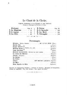 Le chant de la cloche, Op.18: Piano-vocal score by Vincent d' Indy