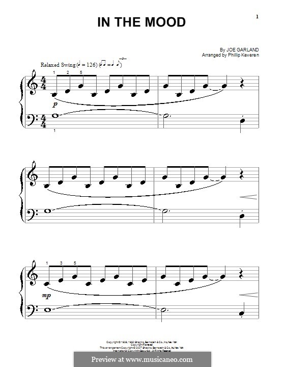 In the Mood (Glen Miller): For piano by Joe Garland
