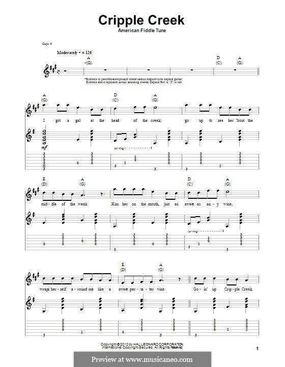 Cripple Creek: For guitar with tab by folklore