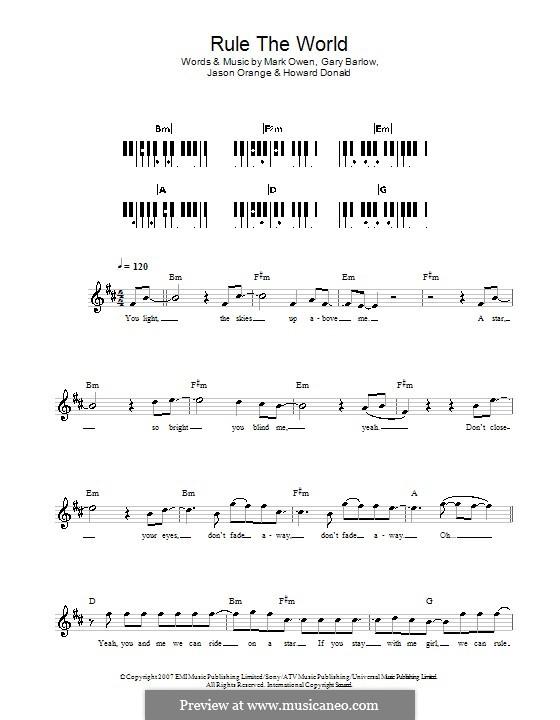 Rule the World (from Stardust): For keyboard by Gary Barlow, Howard Donald, Jason Orange, Mark Owen