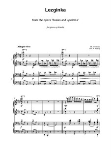 Fragments: Act IV. No.20 Lezginka, for piano four hands by Mikhail Glinka