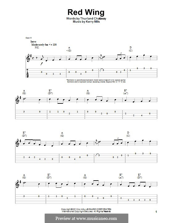 Red Wing (Thurland Chattaway): For guitar with tab by Kerry Mills