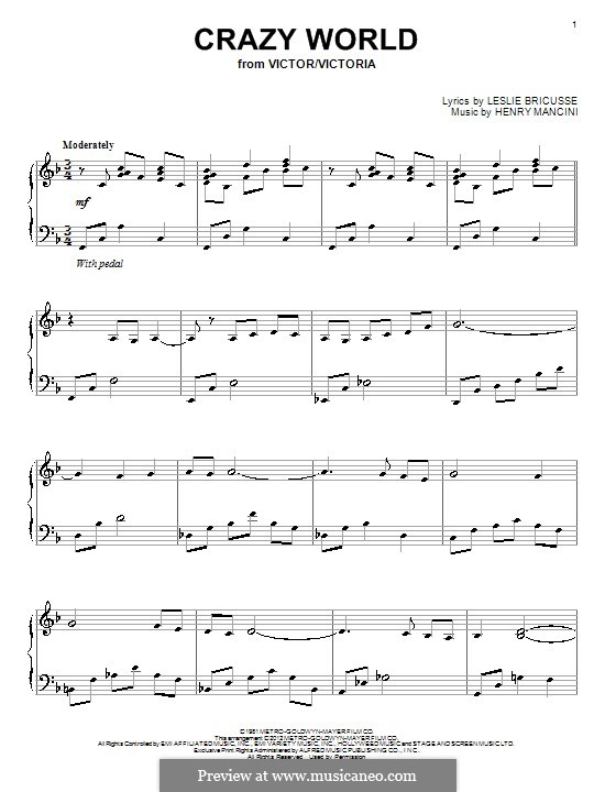 Crazy World: For piano by Henry Mancini