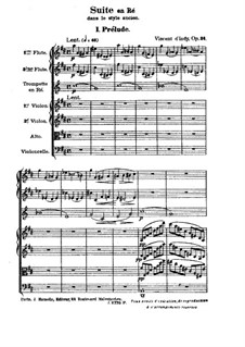Suite in old Style, Op.24: Full score by Vincent d' Indy