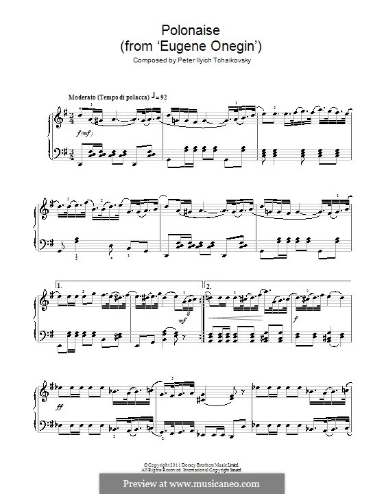 Act III, No.19 Polonaise: Arrangement for piano by Pyotr Tchaikovsky