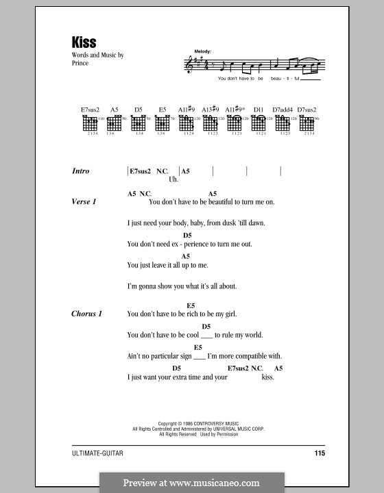 Kiss by Prince - sheet music on MusicaNeo