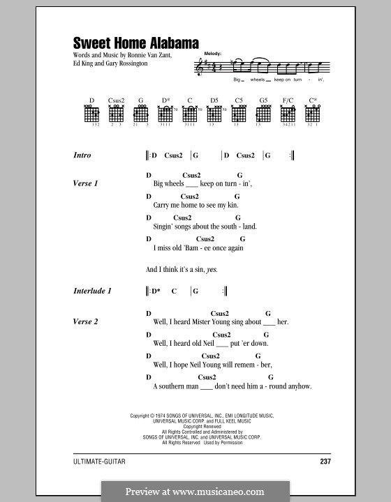 Sweet Home Alabama (Lynyrd Skynyrd): Lyrics and chords by Ed King, Gary Rossington, Ronnie Van Zant