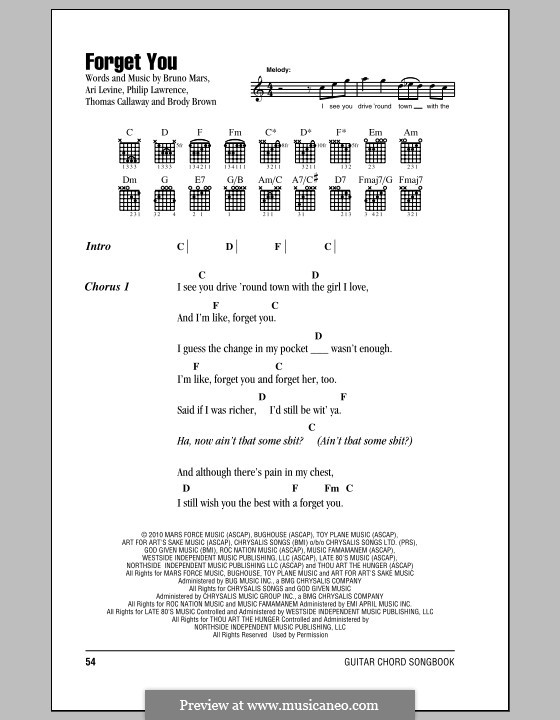 F**k You (Forget You): Lyrics and chords by Ari Levine, Christopher Brown, Bruno Mars, Philip Lawrence, Thomas Callaway