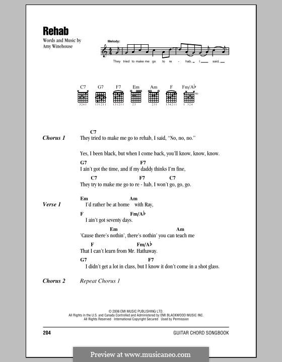 Rehab: Lyrics and chords by Amy Winehouse