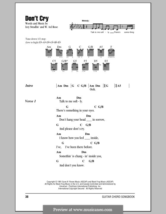 Don't Cry (Guns n' Roses): Lyrics and chords by W. Axl Rose, Izzy Stradlin