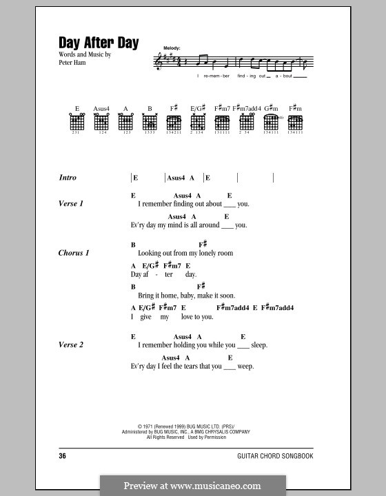 Day After Day (Badfinger): Lyrics and chords by Peter Ham
