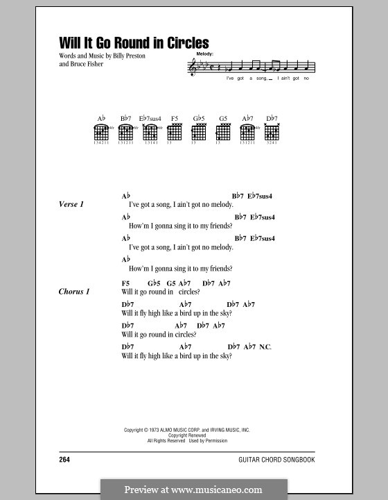 Will It Go Round in Circles (Billy Preston): Lyrics and chords by Bruce Fisher