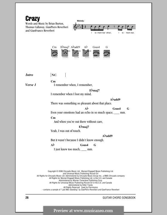 Crazy (Gnarls Barkley): Lyrics and chords by Brian Burton, Gian Piero Reverberi, Gianfranco Reverberi, Thomas Callaway