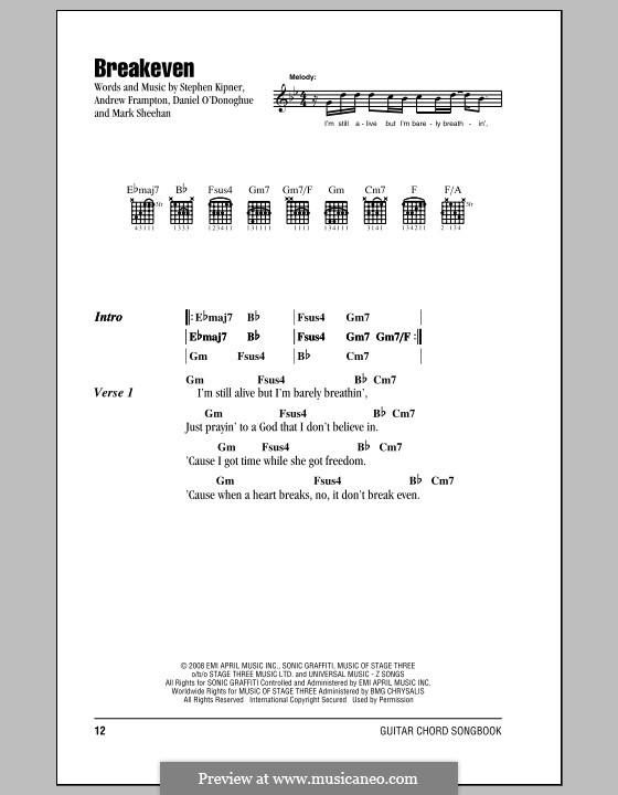 Breakeven (The Script): Lyrics and chords by Andrew Frampton, Danny O'Donoghue, Mark Sheehan, Stephen Alan Kipner