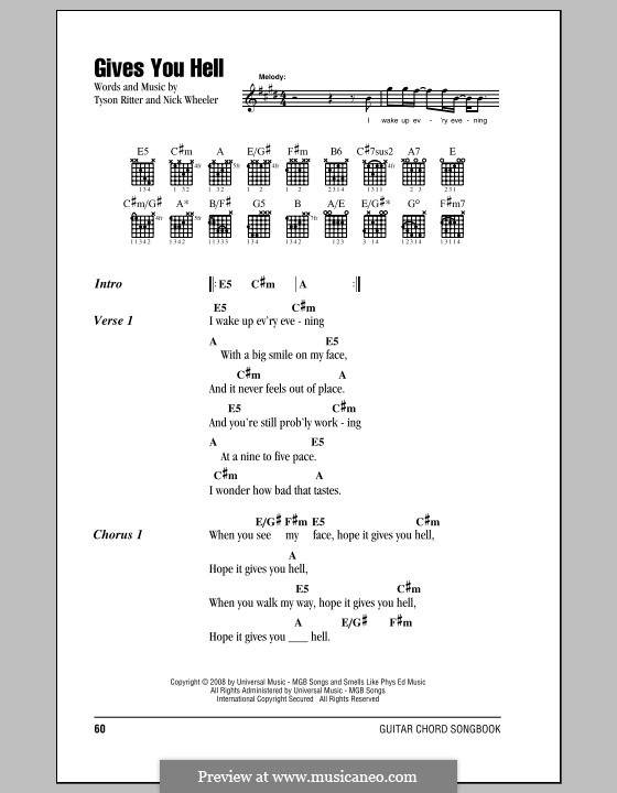 Gives You Hell (The All-American Rejects): Lyrics and chords by Nick Wheeler, Tyson Ritter