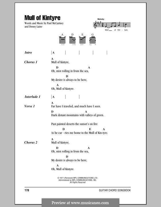 Mull of Kintyre (Wings): Lyrics and chords by Denny Laine, Paul McCartney