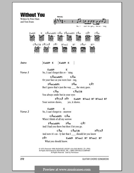 Without You (Badfinger): Lyrics and chords by Peter Ham, Tom Evans