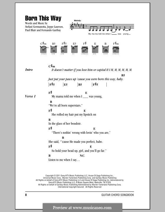 Born This Way: Lyrics and chords by Fernando Garibay, Jeppe Laursen, Paul Blair, Stefani Germanotta