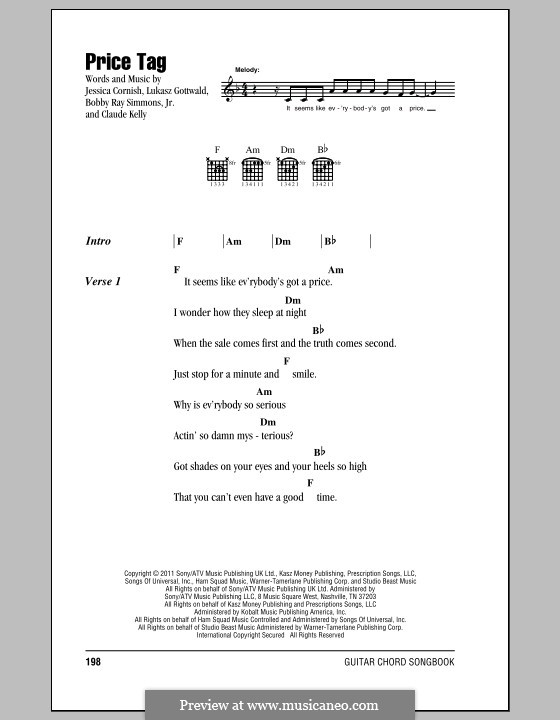 Price Tag (Jessie J feat. B.o.B.): Lyrics and chords by Bobby Ray Simmons Jr., Claude Kelly, Jessica Cornish, Lukas Gottwald