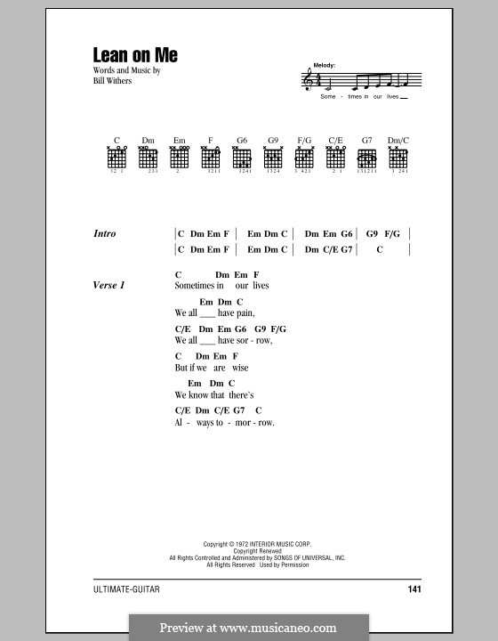 Lean on Me: Lyrics and chords by Bill Withers
