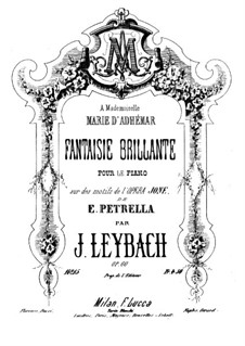 Fantasia on Themes from 'Jone' by Petrella, Op.60: For piano by Joseph Leybach