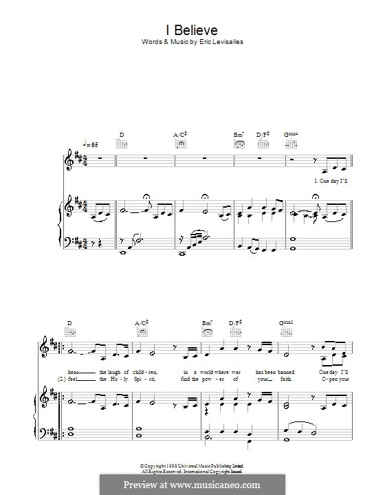 I Believe: For voice and piano (or guitar) by Eric Levisalles