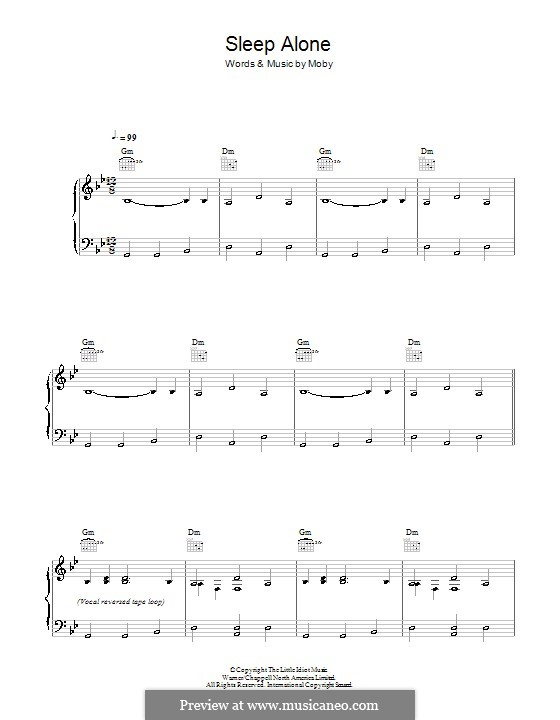 Sleep Alone: For voice and piano (or guitar) by Moby