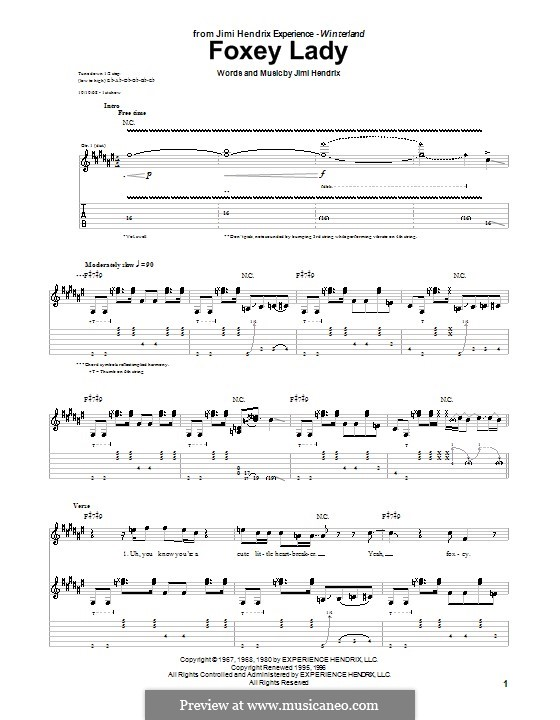 Foxy Lady: For guitar with tab by Jimi Hendrix