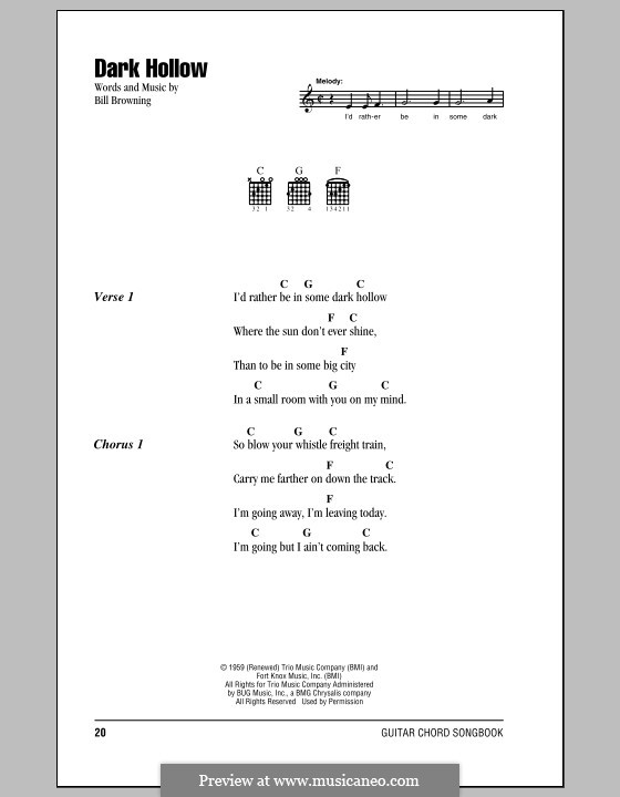Dark Hollow (The Grateful Dead): Lyrics and chords by Bill Browning
